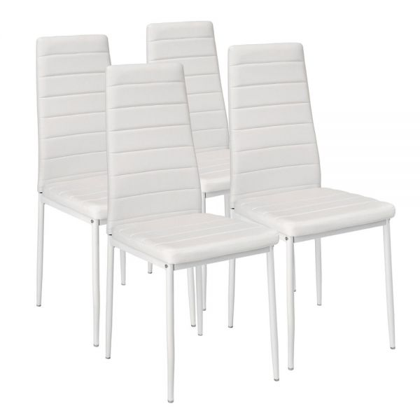 4 Synthetic Leather Dining Chairs White Colour
