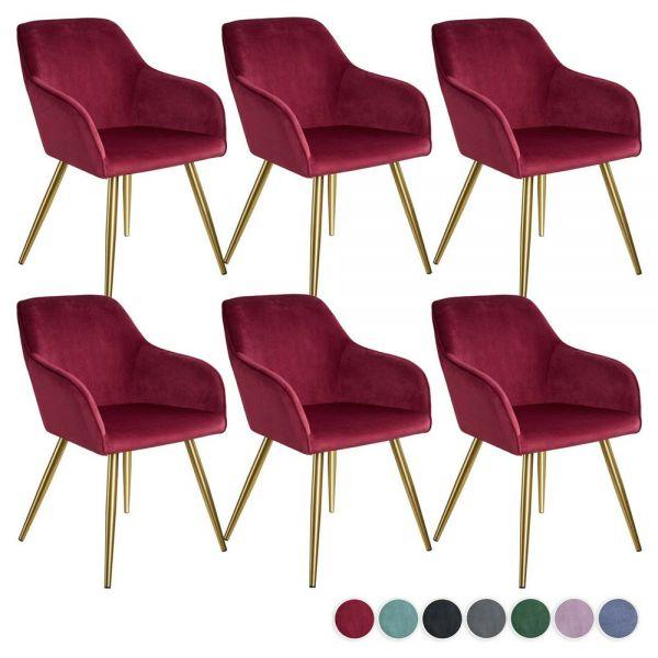 Elegant Velvet Dining Chairs Gold Legs Set of 6x - Various Colours