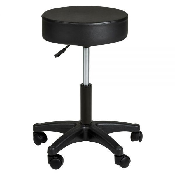 Synthetic Leather Swivel Office Roller Stool - Black