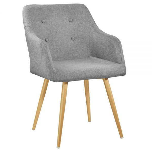 Upholstered Gold Legs Tub Chair - Grey Colour