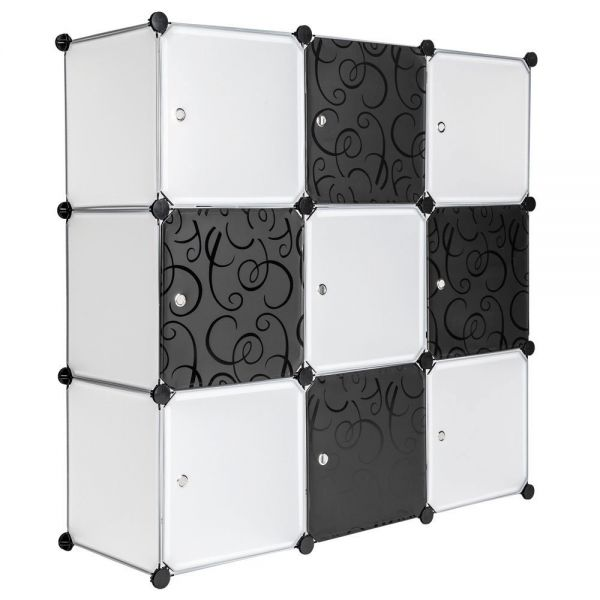 9 Cube Storage Plastic Shoe Rack - White Colour