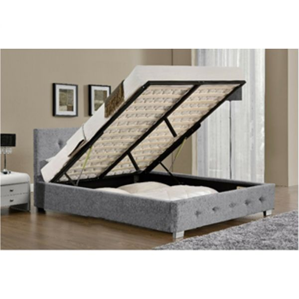 Ottoman Storage Fabric Bed Frame Velvet Chenille - 3 Sizes