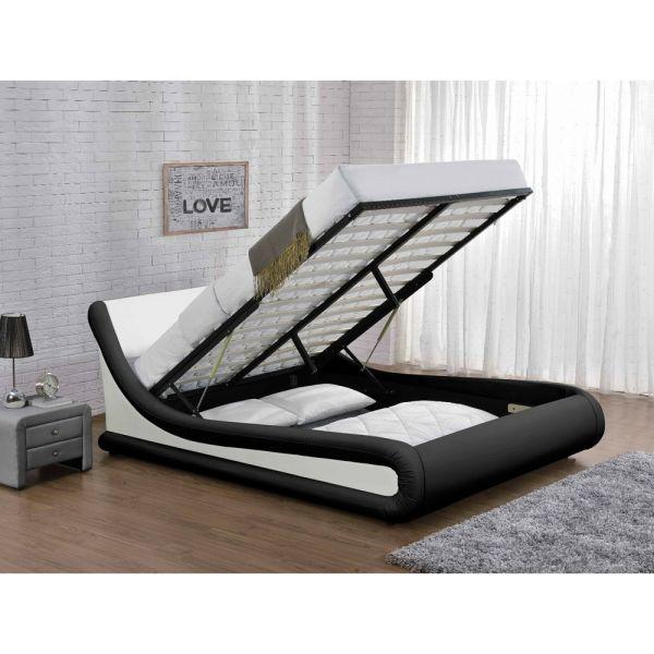 Designer Bed Ottoman Faux Leather Velvet Black White - 2 Sizes