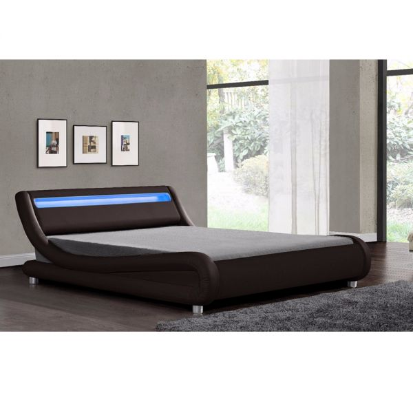 Faux Leather LED Headboard Bed Black White Brown - 2 Sizes