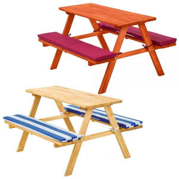 Outdoor Children's Table And Bench Set With Cushions - 2 Colours