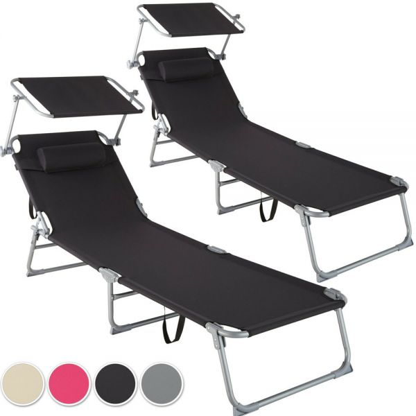 Sun Lounger With Sun Shade Set of 2x Various Colours