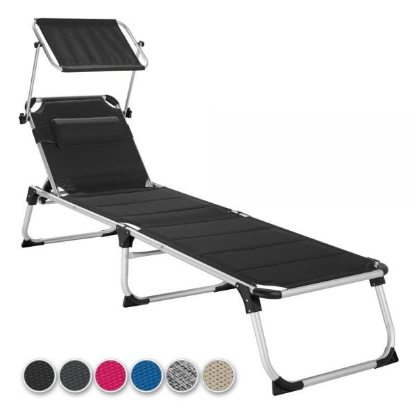 Portable Sun Lounger Shade With Pillow Backrest - 6 Colours