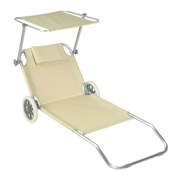 Portable Aluminium Sun Lounger Recliner With Wheels - Beige Colour
