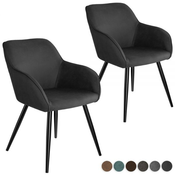 Elegant Fabric Covered Padded Tub Chairs Various Colours - Set of 2