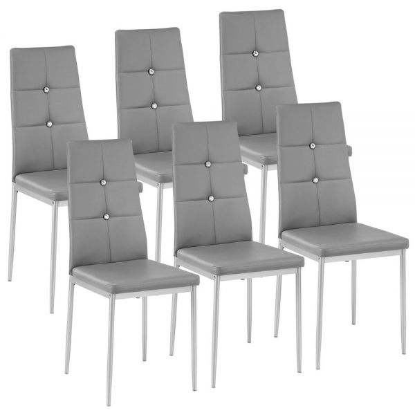 Faux Leather Dining Chairs Grey Colour - Set of 6
