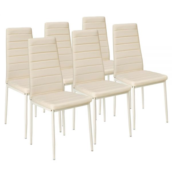 Modern Synthetic Leather Dining Chairs Beige Colour - Set of 6