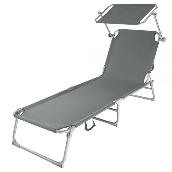 Portable Sun Lounger Recliner With Sunshade 1 to 2 PCS - Grey