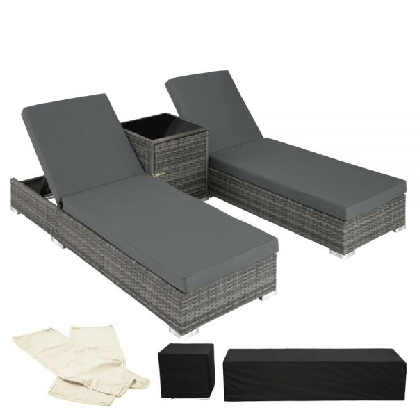 Rattan Sun Loungers With Table and Protection Covers Grey Colour - Set of 2