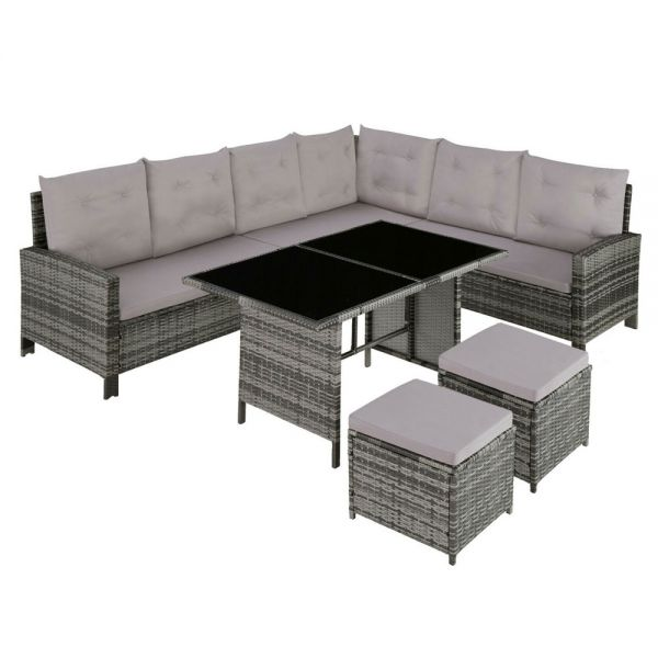 Poly Rattan UV-Resistant Sofa Stool Table Set With Cushions Covers - Grey