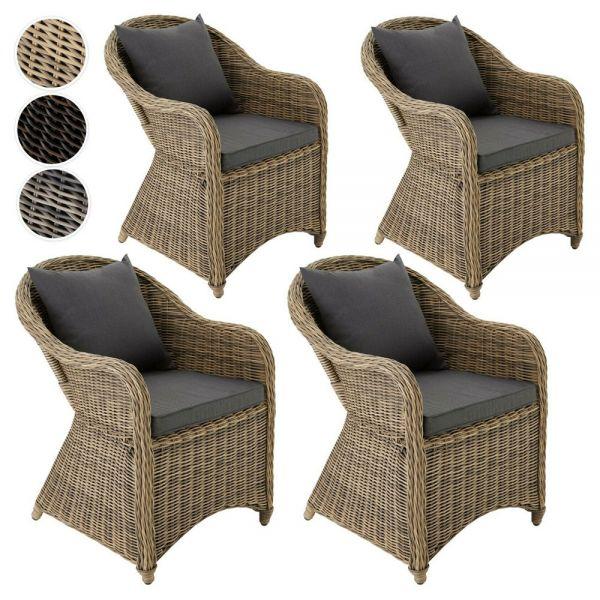 Wicker Aluminium Garden Armchair Chair With Cushions Set of 4 - 3 Colours