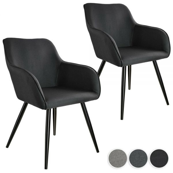 Elegant Upholstered Tub Chairs Linen Look Set of 2 - 3 Colours