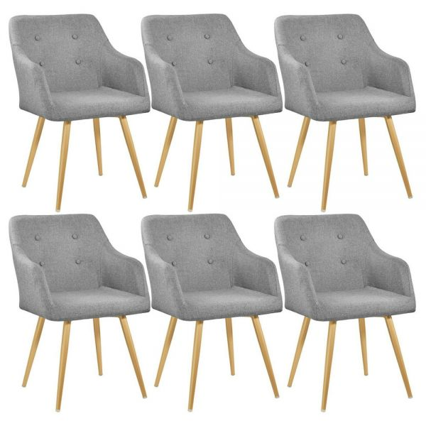 Elegant Polyester Padded Tub Chair Gold Legs Grey Colour - Set of 6