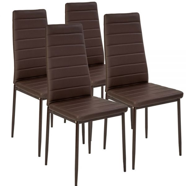 Modern Synthetic Leather Dining Chairs Brown Colour - Set of 4