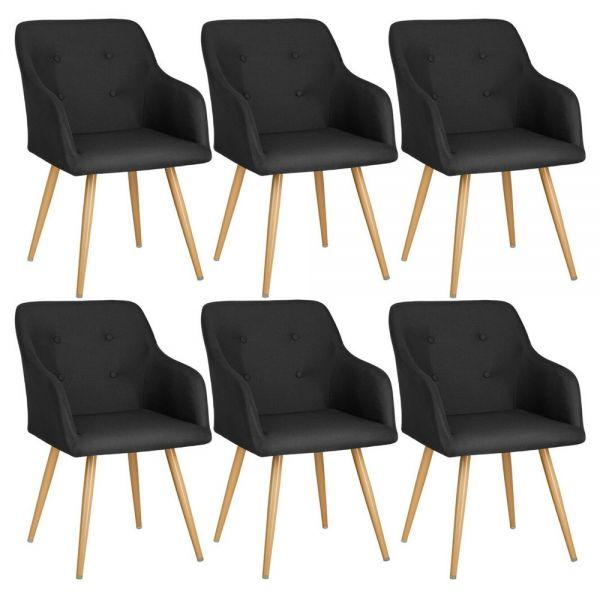 Elegant Polyester Padded Tub Chair Gold Legs Black Colour - Set of 6