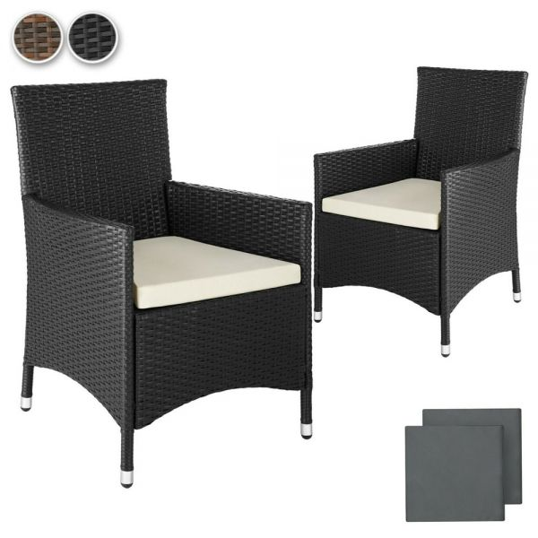 Poly Rattan Garden Armchair With Cushion Covers Set of 2 - 2 Colours
