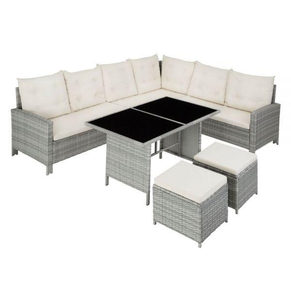 Rattan UV-Resistant Garden Sofa Set Stool With Cushions - Grey Colour