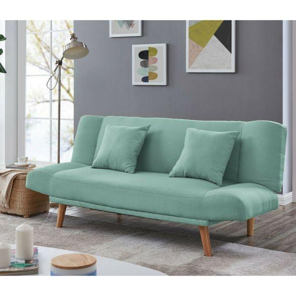 2 Seater Elegant Fabric Sofa Bed Wooden Legs - 3 Colours