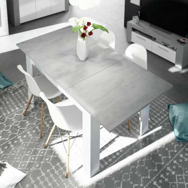 Extending LANZA Dining Table 4 or 6 Seater - Colour Cement + White