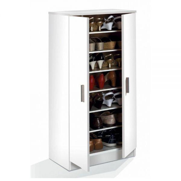 Melamine Shoe Storage Hallway Cabinet 2 Door with 7 Shelves - White