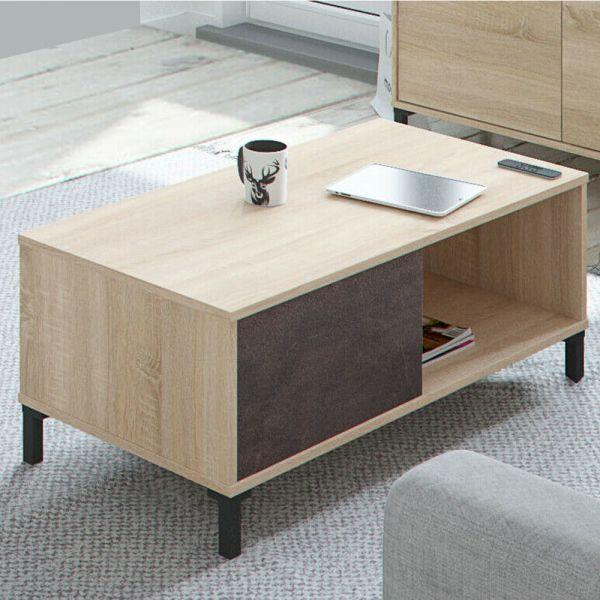 Brooklyn Coffee Table Discrete Storage Colours Oak+Oxide