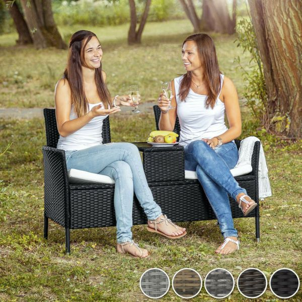 2 Seats Poly Rattan Bench Glass Table Various Colours