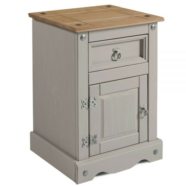 Corona Bedside Cabinet Medium Pot Table - Grey Wax