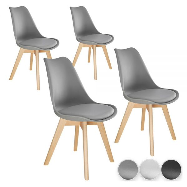 Scandinavian Dining Chairs Set of 4x - 3 Colours
