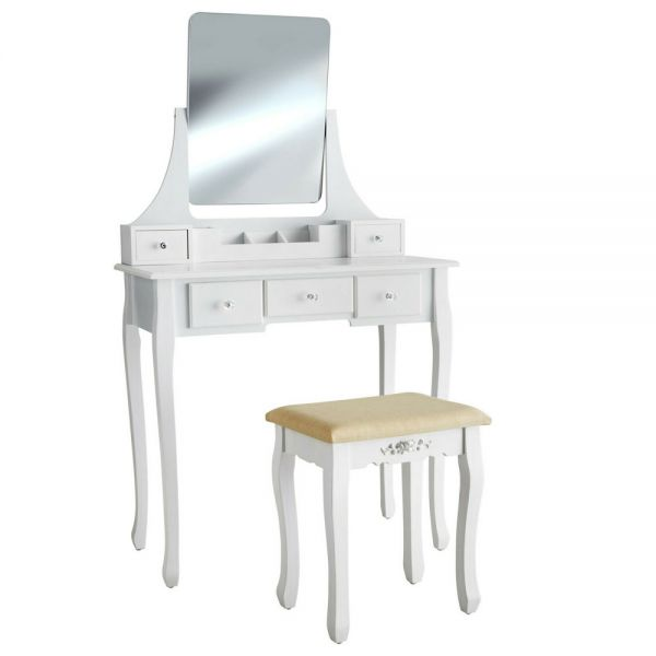 5 Drawers Dressing Table WIth Upholstered Stool- White