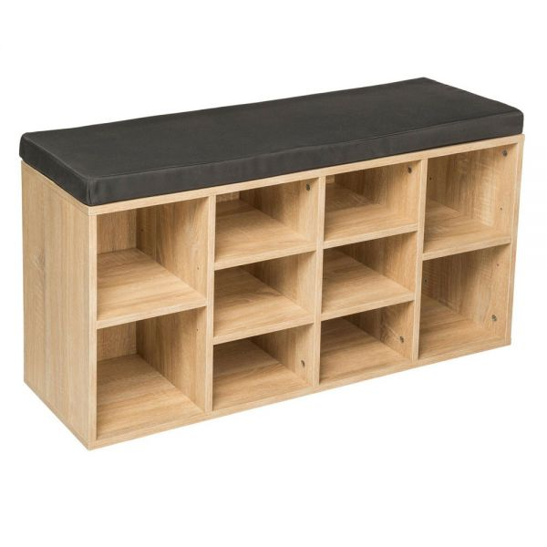 Shoe Rack Storage Cabinet With Cushion Seat - Oak
