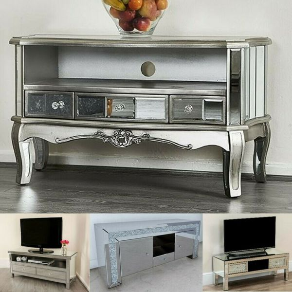 French Style Mirrored TV Stands Drawers Options Various Style
