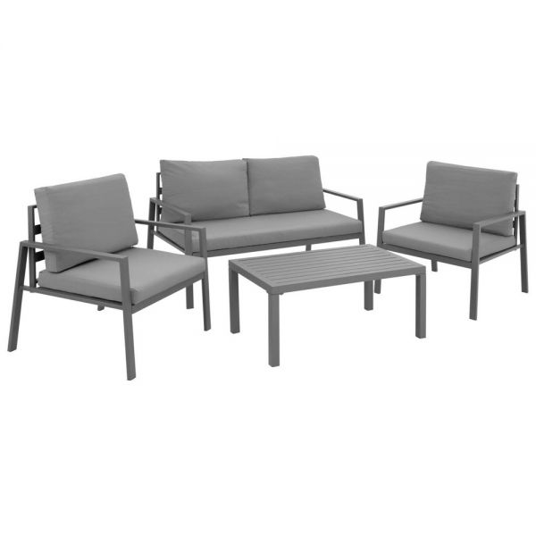 4 PCs Aluminium Garden Furniture Seating Set - Grey Colour