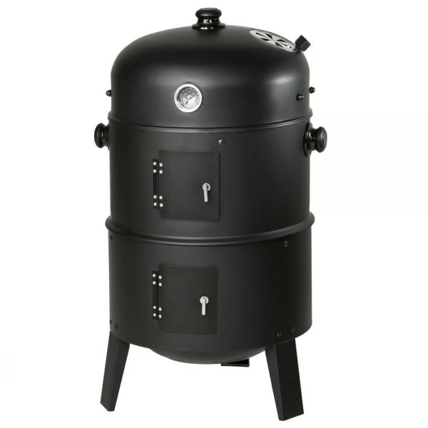 BBQ Smoker Charcoal Grill With Display Temperature 3 in 1