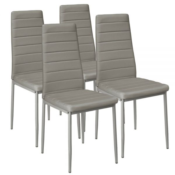 Modern Faux Leather Dining Chairs Set of 4 - Colour Grey