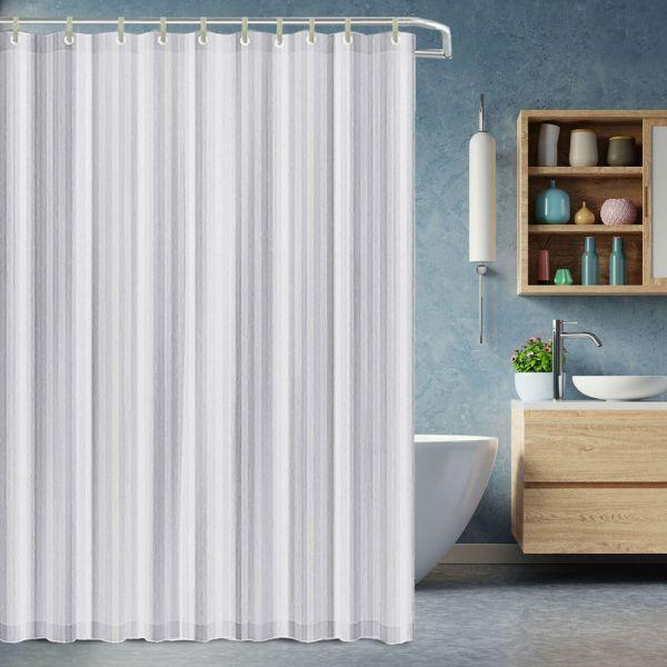 Thick Vinyl Fabric Shower Curtain Splash Proof White - 180x200 cm