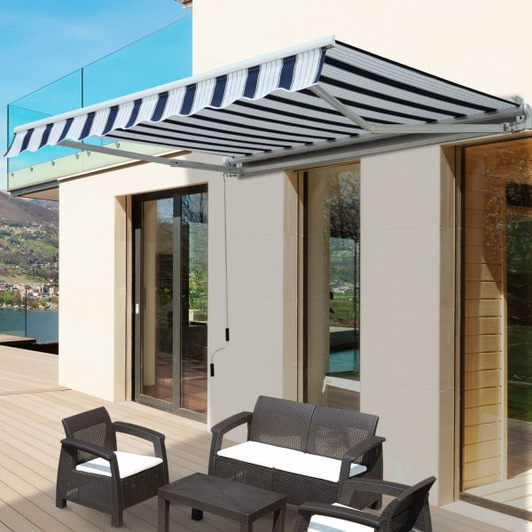 Outsunny 2.5m Manual Garden Awning Canopy - 3 Colours