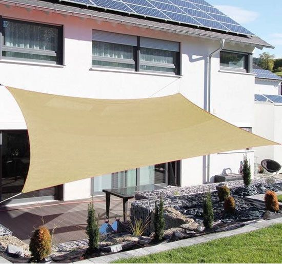 Outsunny 3.6m Sail Sun Shade Awning Canopy - Sand, Green or Grey