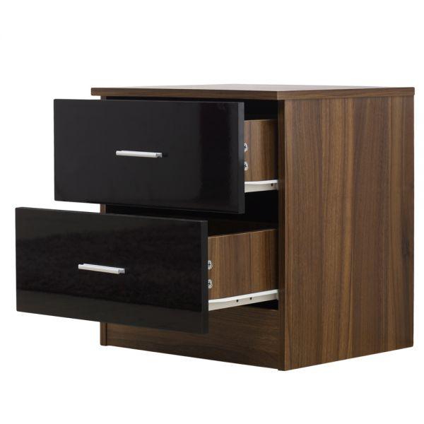 2 Drawer Bedside Table - Walnut Reflect - Gloss Black