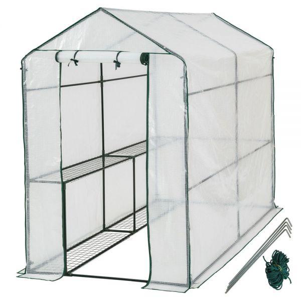 Greenhouse WIth Tarpaulin and Shelf - 186x120x190