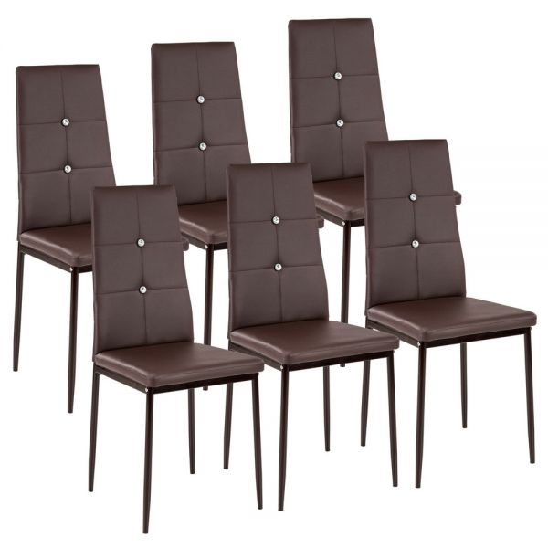Faux Leather Dining Chairs Brown Colour with Rhinestones - Set of 6