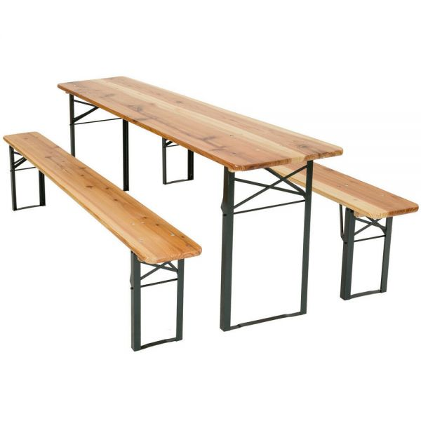 Outdoor Folding Party Table Set - Wooden Brown Colour
