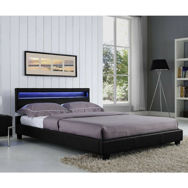 Stylish Black Design Bed Frame with LED Night Light - Double Size