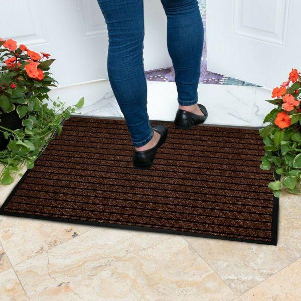 Mat Brown Non Slip Rubber Doormats - 50 x 90 cm