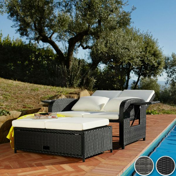 Rattan Sun Lounger Day Bed 2 Seat - 2 Colours