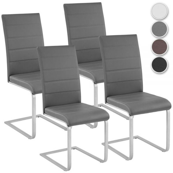 Modern Faux Leather Cantilever Chairs Set of 4
