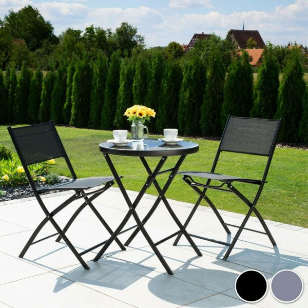 Bistro Set Table 2 Chairs Seat - Grey Black